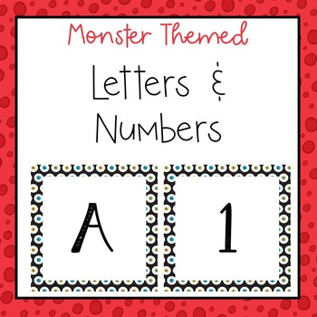 Monster letters and numbers for bulletin board, calendars, & class management