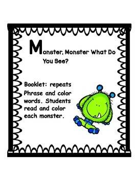 Monster, monster what do you see? booklet