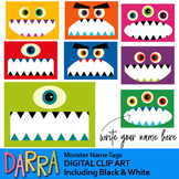 Monster name tags clipart for first day of school activities