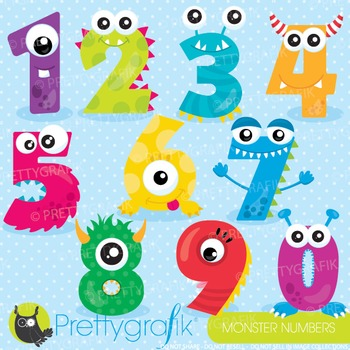 Monster number clipart commercial use, graphics, digital c