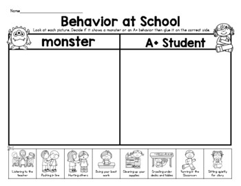 Monster or A+ Student? Classroom Behavior Sort/School Rules