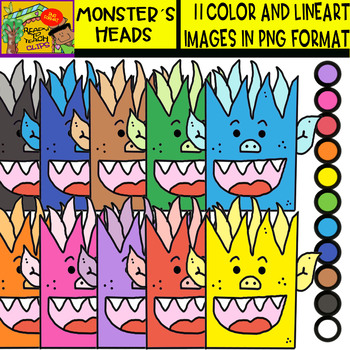Monster´s Heads - Cliparts Set - 11 Items