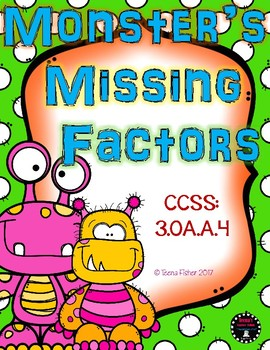 Monster's Missing Factors Multiplication Center Third Fourth Grade