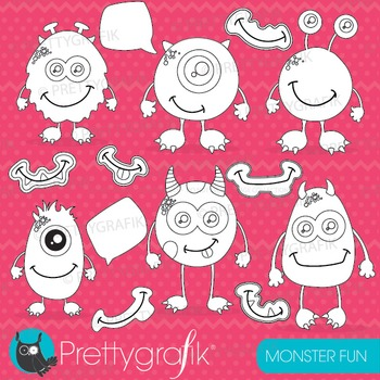 Monster stamps commercial use, vector graphics, images - DS654