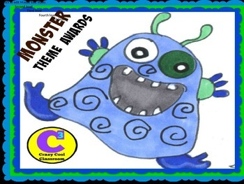 Monster theme EDITABLE AWARD certificates