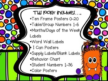 Monster theme classroom decor pack