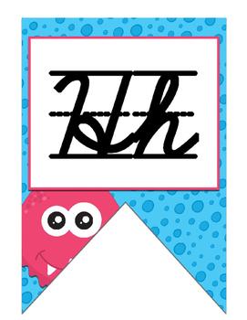 Monster themed D'Nealian Cursive Alphabet banner