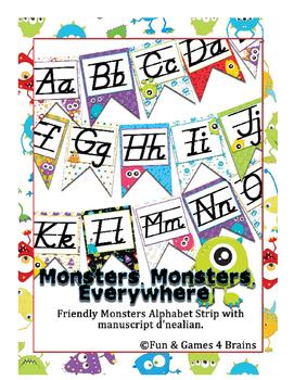 Monster themed D'Nealian Manuscript Alphabet banner