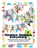 Monster themed D'Nealian print and cursive Alphabet banner