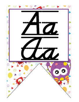 Monster themed D'Nealian print and cursive Alphabet banner