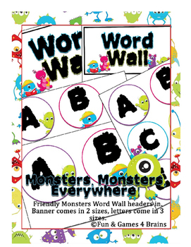 Monster themed Word Wall headers - labels