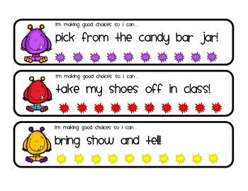 Monster themed behavior punch cards