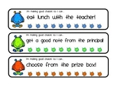Monster themed behavior punch cards