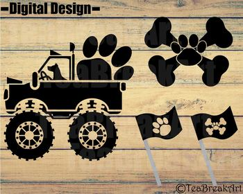 Monster truck animal Paw Digital Cutting Files ClipArt svg png eps dxf 739C