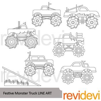Monster truck line art - clip art blackline