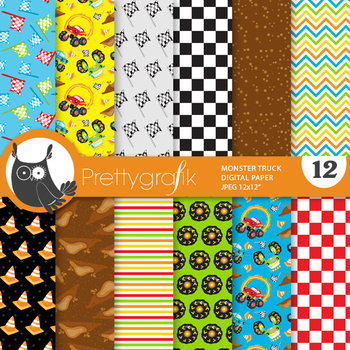Monster truck papers, commercial use, scrapbook papers, patterns - PS871