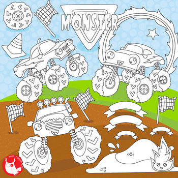 Monster truck stamps,  commercial use, vector graphics, images  - DS1103