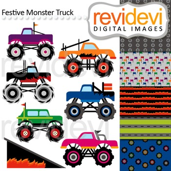 Monster trucks clip art (digital graphics and coordinating papers)