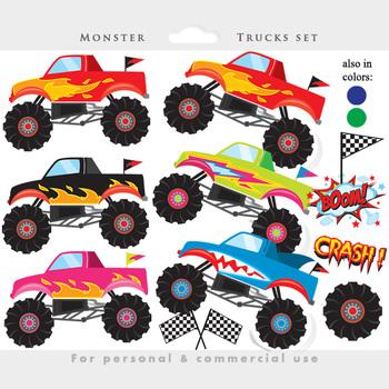 Monster trucks clipart - trucks clip art, fire, red, digit