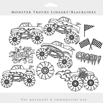 Monster trucks regular & blacklines clipart combined pack - trucks clip art fire