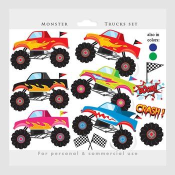 Monster trucks regular & blacklines clipart combined pack - trucks clip art fire
