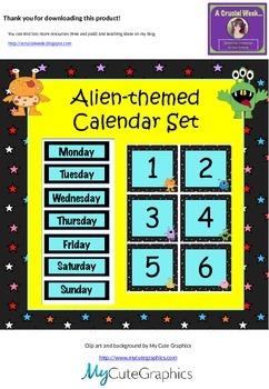 Monster/Alien-themed calendar set (with editable boxes)