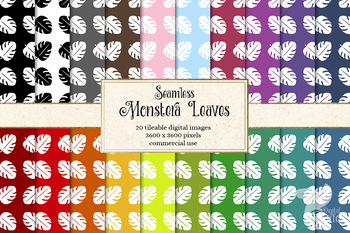 Monstera Leaves Patterns, tropical leaf digital paper, seamless backgrounds