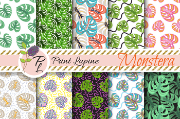 Monstera Leaves Seamless Pattern Set. Digital paper pack.