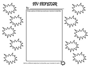 Adjectives: Monsterous Adjectives Craftivity & Writing
