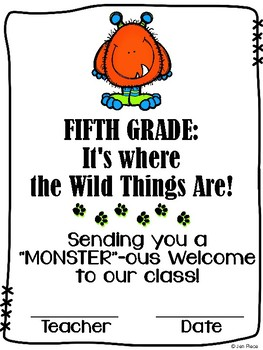 """""""Monster""""ous Welcome to Fifth Grade / Grade Five Certificate {Wild Things}"""