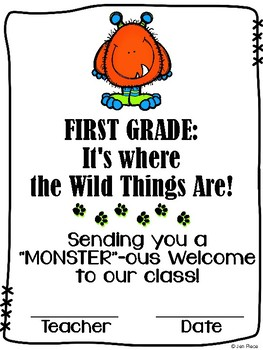 """""""Monster""""ous Welcome to First Grade / Grade One Certificate {Wild Things theme}"""