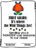 Welcome to First Grade / Grade One {Wild Things theme}