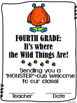 """""""Monster""""ous Welcome to Fourth Grade / Grade Four Certific"""