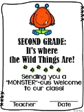 """""""Monster""""ous Welcome to Second Grade / Grade Two Certificate {Wild Things theme}"""