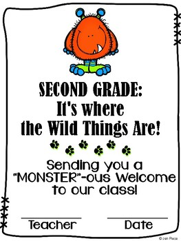 """Monster""ous Welcome to Second Grade / Grade Two Certifica"