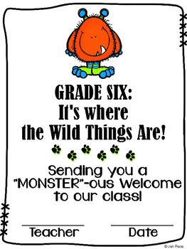 """""""Monster""""ous Welcome to Sixth Grade / Grade Six Certificate {Wild Things}"""