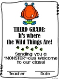 """""""Monster""""ous Welcome to Third Grade / Grade Three Certificate {Wild Things}"""