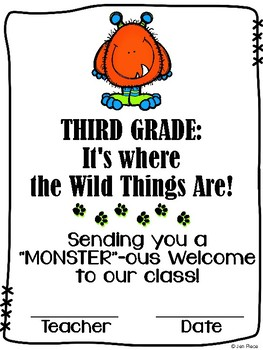 """Monster""ous Welcome to Third Grade / Grade Three Certificate {Wild Things}"