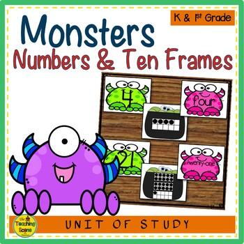 Monsters 0-25 Number, Ten Frame & Number Word Match