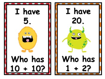 Monsters 1st Grade I have...Who Has? Math Game Common Core 1.OA.6