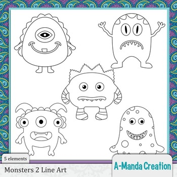 Monsters 2 Line Art and Digital Stamps