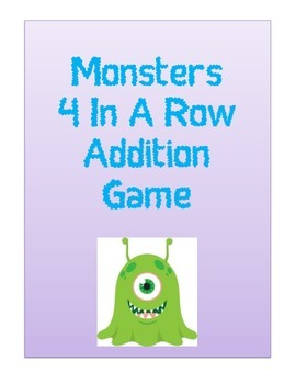 Monsters 4 In A Row Addition Game