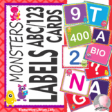 Monsters ABC/123 Number and Letter Cards Shelf Labels