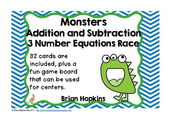 Monsters Addition and Subtraction 3 Number Equations Task Cards