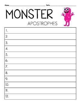 Monsters Apostrophes Task Cards