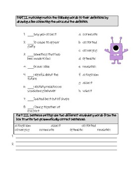 Updated Bundle: Monsters Are Due on Maple Street Vocabulary Activities