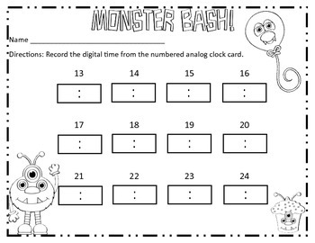 Monsters Birthday Bash Time to 5 minutes Common Core Standard 2.MD.7