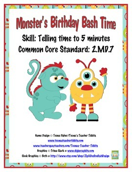 Monsters Birthday Bash Time to 5 minutes Common Core Stand
