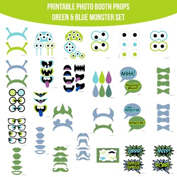 Monsters Blue Green Printable Photo Booth Prop Set