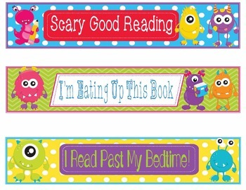 Monsters Bookmarks, Shelf Markers or Desk Name Plates - EDITABLE